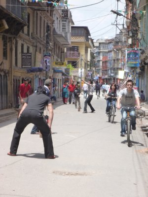 Cricket in the streets of Kathmandu