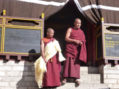 Monks who blessed us at world's highest monastary in Tengbouche