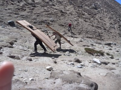 Carrying wood up the mountain