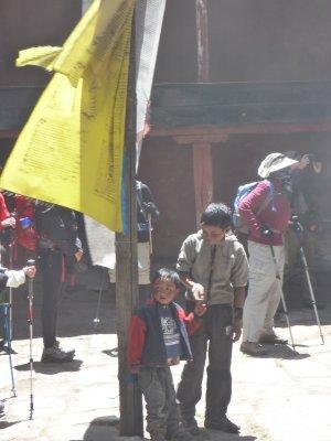 Children inside temple walls