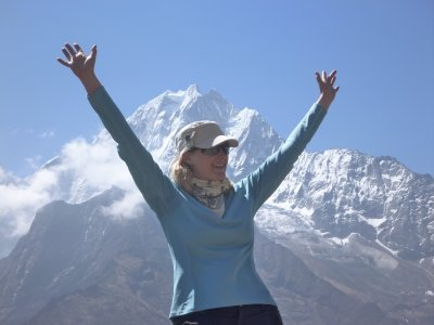 At the end of the hardest hill on my hardest day (toward Namche)