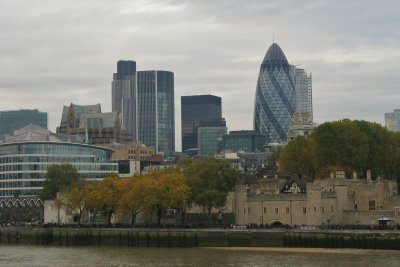View of the Tower of London and the Gherkin (Swiss Re) from Tower Bridge
