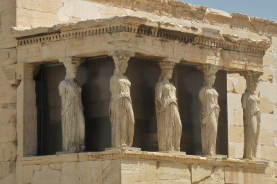 Closeup of the ladies (Caryatids) - 5 originals in the new museum, one in London