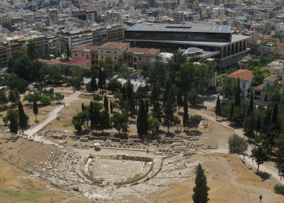 New Acropolis Museum behind ruins of Theatre of Dionysos