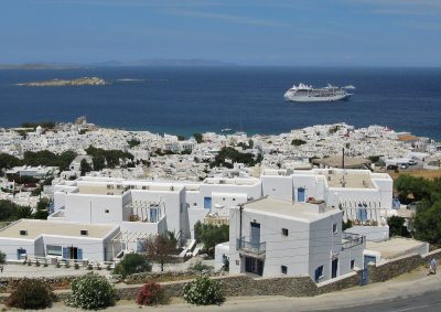 View from our balcony over Mykonos town
