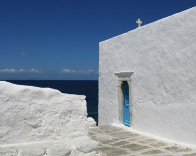 Classic Mykonos whites and blues