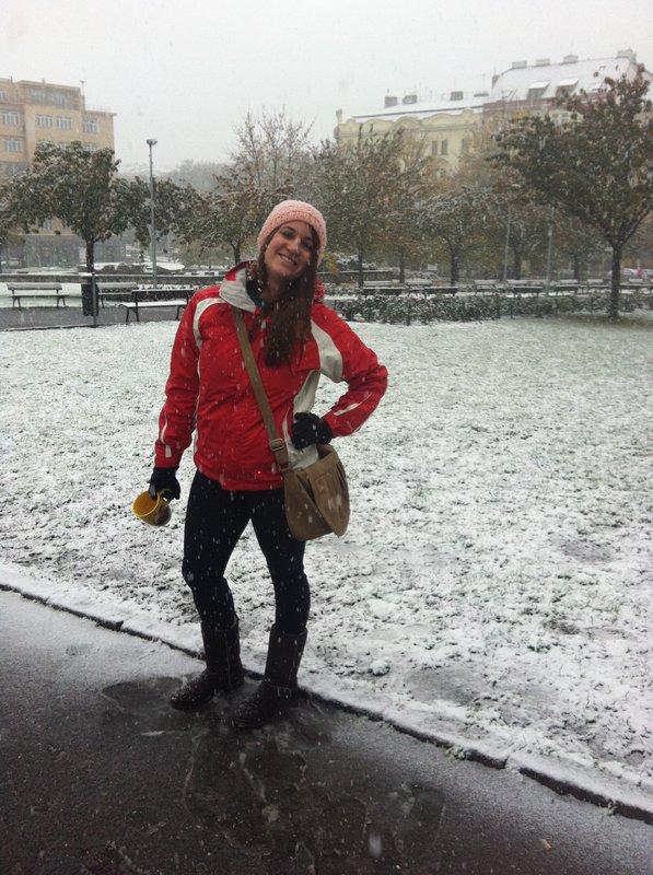 First snow in Prague!