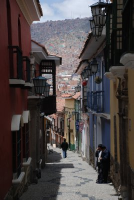 La Paz seen between the narrow streets