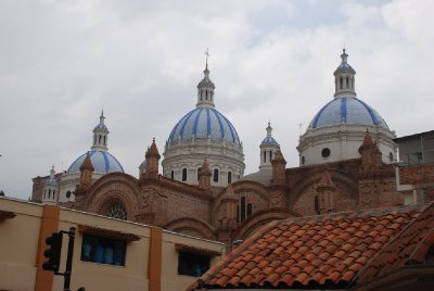 The blue domes of Cuenca's cathedral