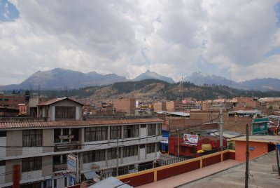View of the mountains looming over Huaraz