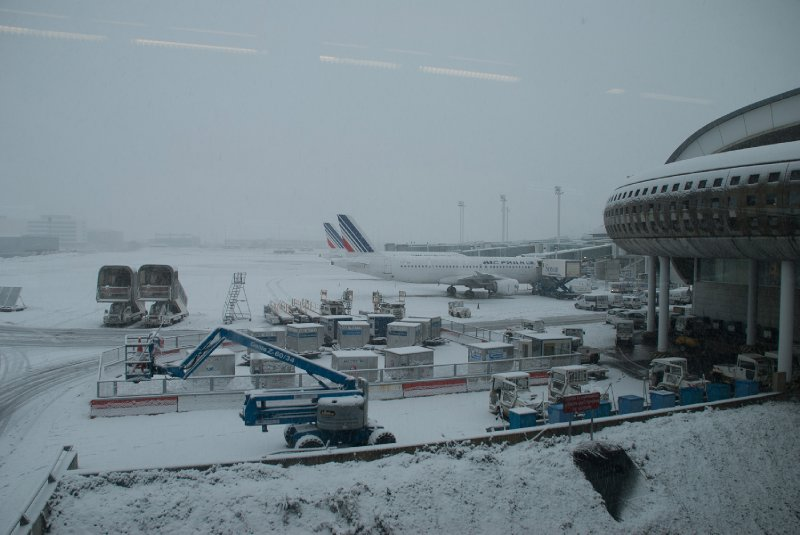 A snowy airport