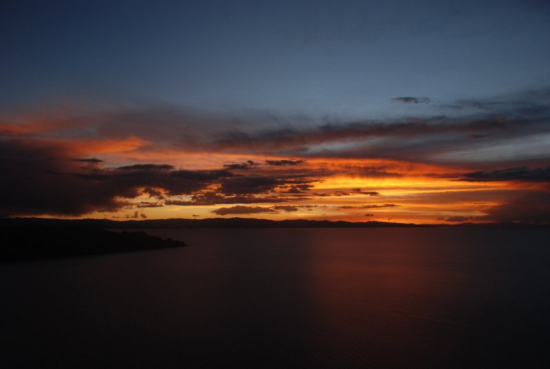 Stunning sunset over Titicaca