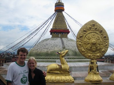 Galen and Laura in front of Bouddhanath Stupa