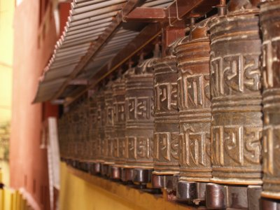 Prayer wheels at the stupa