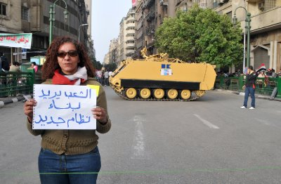 Woman and tank