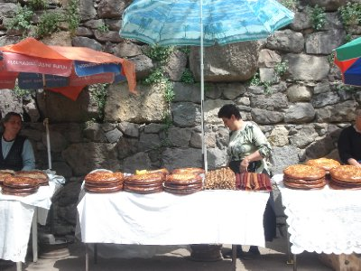 Vendors outside the gates of Geghard Monastery