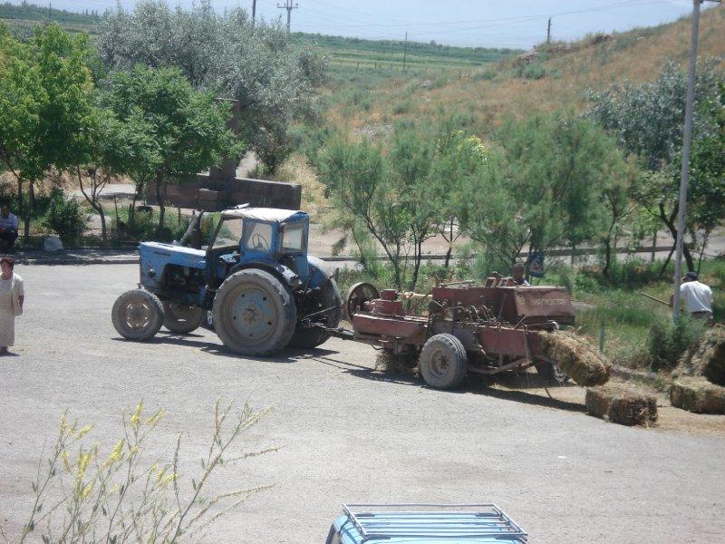 tractor outside Khor Virap Monastery