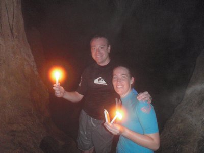 Caving by candle light
