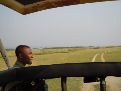 Our guide, Sam, scanning the horizon for lions...plenty of tracks but no big cats