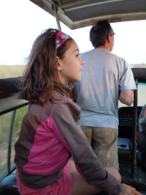 Brooke finds a good seat for viewing the wildlife