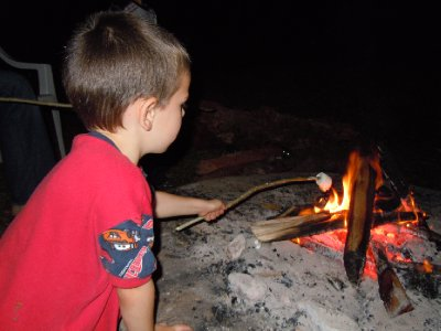 Roasting real Jet Puffed marshmallows. We made s'mores!!