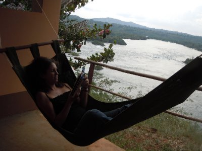 Kara enjoys the hammock on the front deck