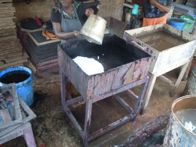 When it's time to make paper, the pulp is mixed with dye and water in these massive troughs