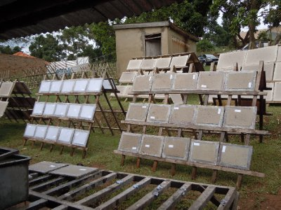 Dozens of wooden racks simplify the process of drying the paper