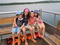 Kids ready to ride the Nile upriver to the base of Murchison Falls