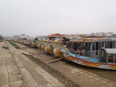 Tourist river boats in Hue