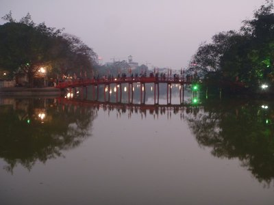 Ngoc Son Temple Bridge at sunset, Hanoi
