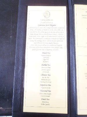 High Tea menu 1