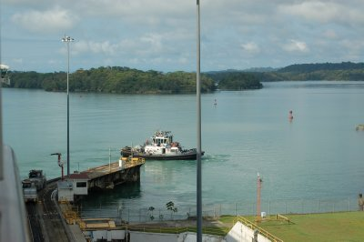 Leaving first locks entering Gatun Lake