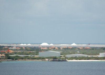 Salt fields in background