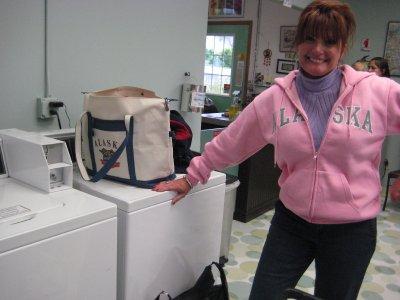 At the laundrymat in Seward!
