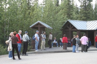 Waiting for the ride back to the visitor center after our hike.