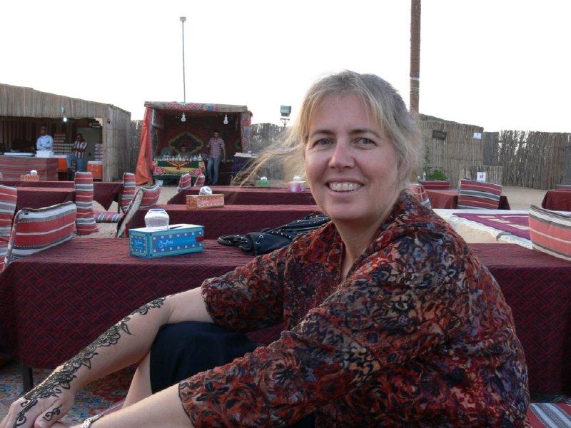 Dubai Liz hanging out on the Desert Safari