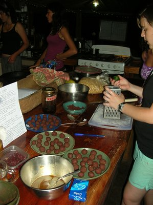 making chocolate truffles from handground coco beans