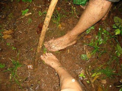 sometimes barefoot is easier than flip-flops