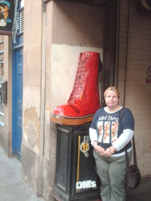 zoe in newcastel next to the biggest boot ever