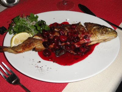 Trout with cherries