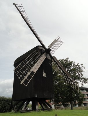 Traditional wooden windmill in the gardens