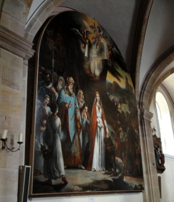 Large wall painting showing the foundation of the abbey.   Donated to the abbey in 1840.
