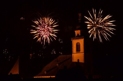 Fireworks over the church tower