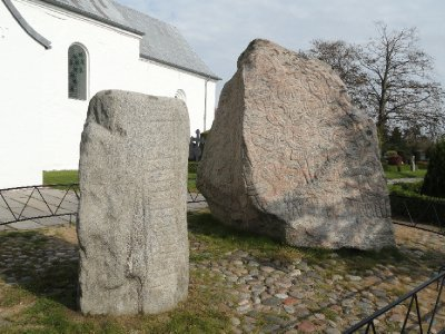 Jelling stones - massive carved runestones from the 10th century