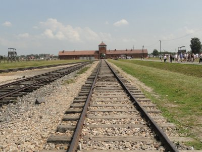 Looking back to the rail entrance to Birkenau, known as the Death Gate.