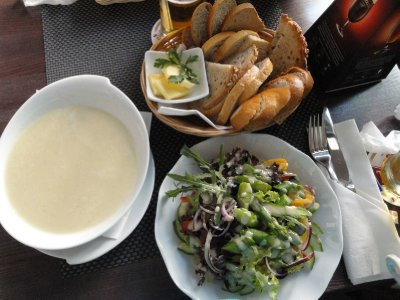 Asparagus soup, beautiful fresh salad, bread, Guliver Cafe Krakow