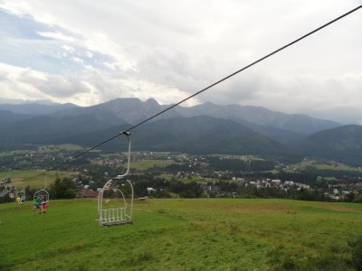 View to the beautiful Tatra mountains from the chair lift