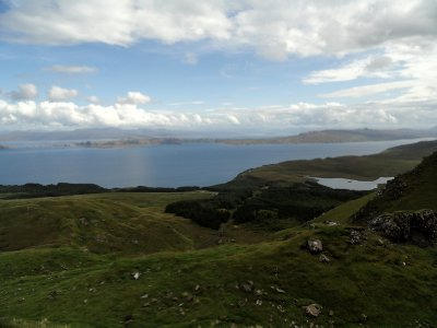 Panoramic view across the Sound of Raasay to the Isle of Raasay and the Scottish mainland.