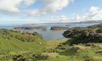 Looking out to the sea and islands, Drumbeg Scotland